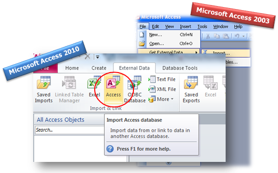 how to import access database objects