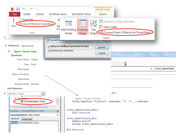 How to Convert Ms Access Macros To Visual Basic For Application VBA?