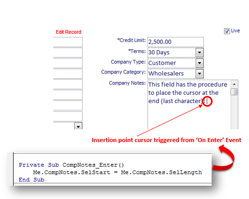 MS Access Database Forms: Using The SelStart And SelLength