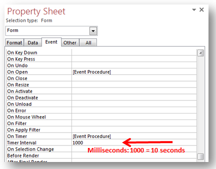 Microsoft Access Form Designs: Using VBA With On Timer Event