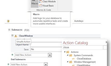 how to run macro in access 2016