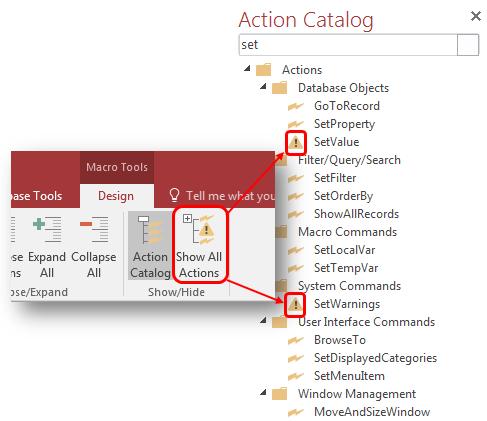 Microsoft Access 2016 Macros Show All Macro Commands