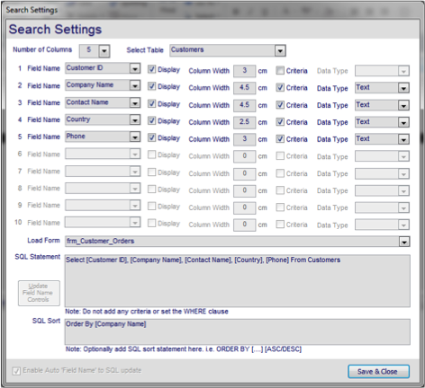 Microsoft Access database search tool