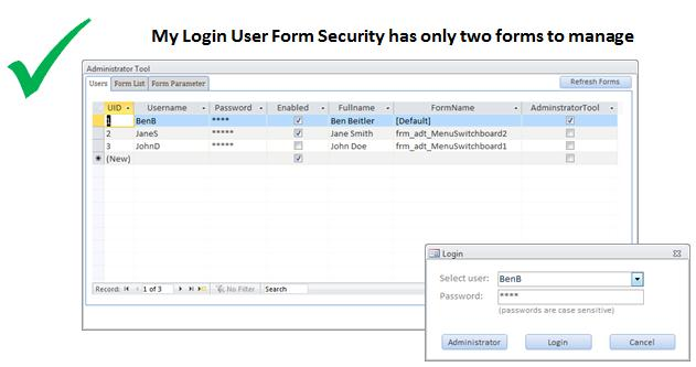Microsoft Access Login Form utility