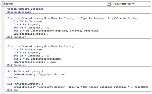 MS Access Databases Properties: How To Set It Using