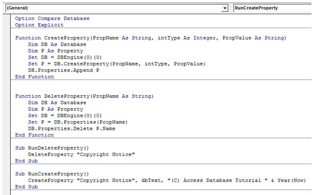 Microsoft Access Sample Code
