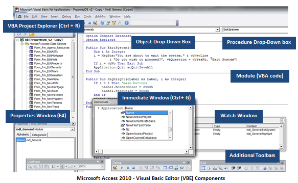 microsoft access database visual basic editor components